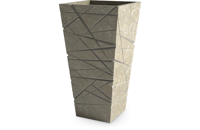 Fiberglass Modern Pot rectangle high graphic Aged Stone