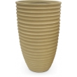 Fiberglass Nature Pot conus ring-shaped Beige Matt