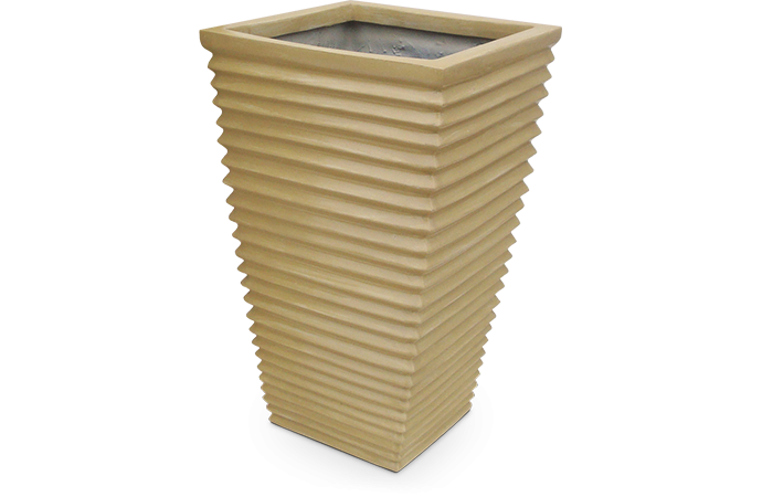 Fiberglass Nature Pot rectangle Beige Matt